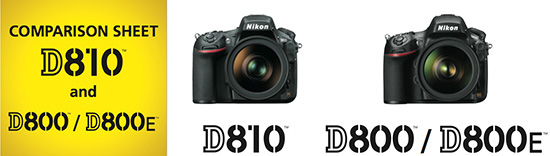 Confronto Nikon D810 vs Nikon D800/D800E